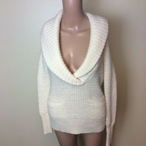 Ann Taylor LOFT Cowl Neck Knit Cream Sweater